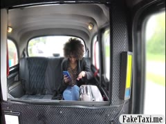Hot ebony babe drilled by pervert driver in the backseat