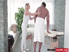 A black cock for hot blonde masseuse