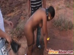 Rough sex and nipple torment with African slut