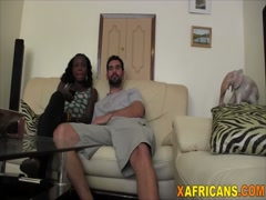 Cute African real GF white cock hungry