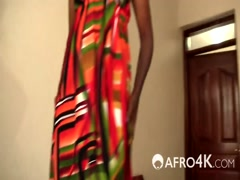 African babe pleasing long white cock by riding
