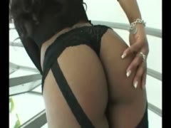 Black Gf in lingerie spanked dancing ass