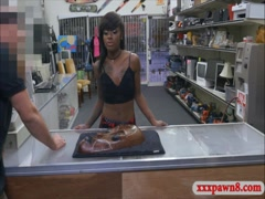 Ebony chick sells her stuff and pounded by pawn keeper