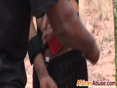 Slave From African Tortured By Masters Outdoors
