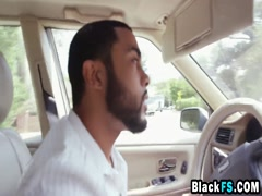 Asian chick Mila gets black cock in ass while riding