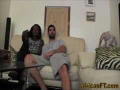 White stud nails African cutie on sofa