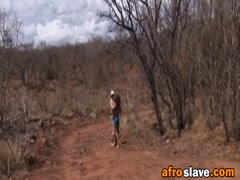 African slave riding white schlong outdoors