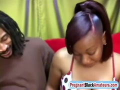 Tempting preggo ebony takes black dick