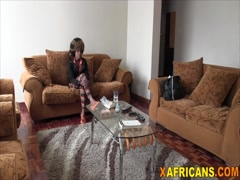 African hottie loves riding long white schlong