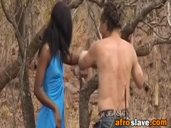 Outdoor interracial deepthroat and rough nipple torment