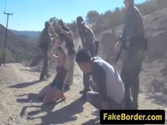 Teen gets banged by black border guard outdoors