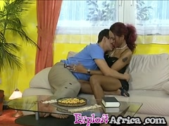 Redhead ebony girl gets fucked good