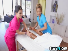 Two Asian masseuse gets black dick