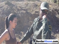 Busty chick gets banged by border guard outdoors
