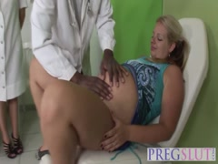 Pregnant babe and nurse share long black cock