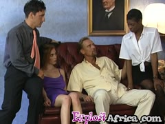 Horny African babes enjoy banging in foursome