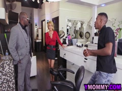 Busty Hair Stylist Gets Assfucked By Couple Of Black Guys