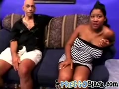 Pregnant chick playing with long dick