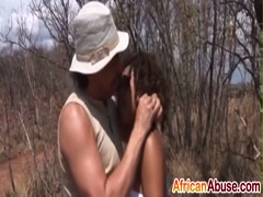 African hottie is tied up and fucked against a tree