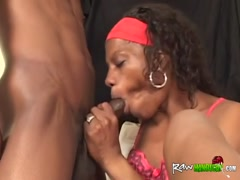 Handicapped ebony chick takes cock from behind