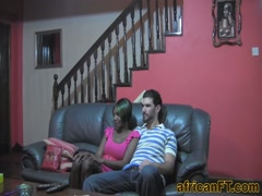 Amateur ebony babe gets fucked by her white lover