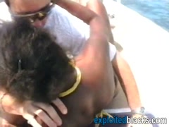 White man bangs ebony chick on the beach