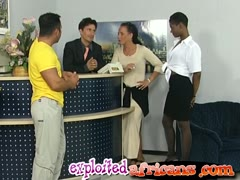 Two horny couples engage in interracial sex