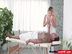 Black stud fucks busty blonde masseuse