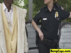 Black pimp fucks white officers Maggie Green and Joslyn