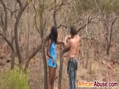African abused tied to a tree then fucked