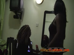 Horny black friends Yvonne and Simone in lesbian action