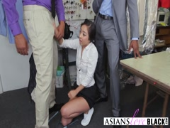Nasty Asian chick enjoys DP fuck
