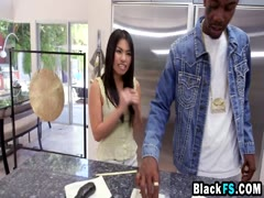 Petite hottie pounded by black friend