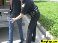 Muscled black stud fucks two busty MILF officers