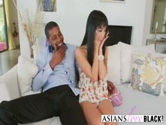 Asian hottie blowing black dick