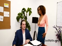 Huge natural tits ebony fucks her boss