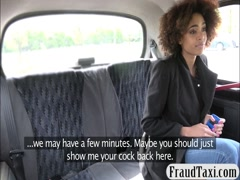 Sexy ebony gets banged in the backseat for a free fare