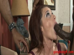 Cece Rhodes deepthroats and ass banged by black dudes