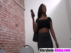 Busty black babe Lisa gives glory hole blowjob