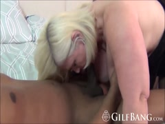 Granny blows black cock before riding like cowgirl