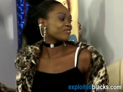 Black hottie enjoys riding white schlong on couch