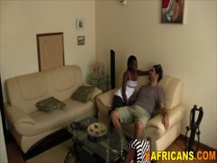 Petite black babe rides white guy on homemade video