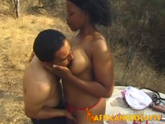 African slave gets mouth filled by cock outdoors