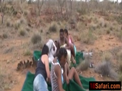 African babes blowing and riding boners outdoors