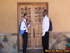 Door to door black guys double team mom