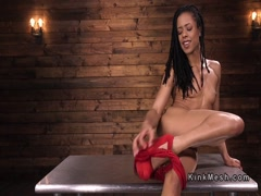 Long legged ebony gets fucking machine