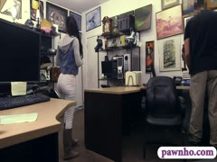 Pretty ebony gets her pussy slammed by horny pawn man