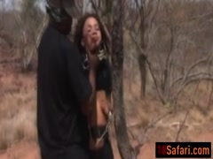 African hottie gets abused by two horny guys