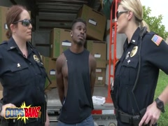 Two hot cops pounded by black dude