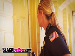 Naughty cops with big tits abused black stud in bed